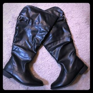Wide width Black knee length boots size 10